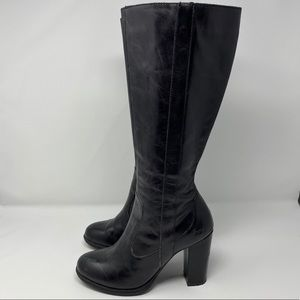 B.O.C Leather Knee High Heeled Black Boots